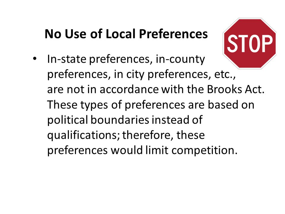 No Use of Local Preferences