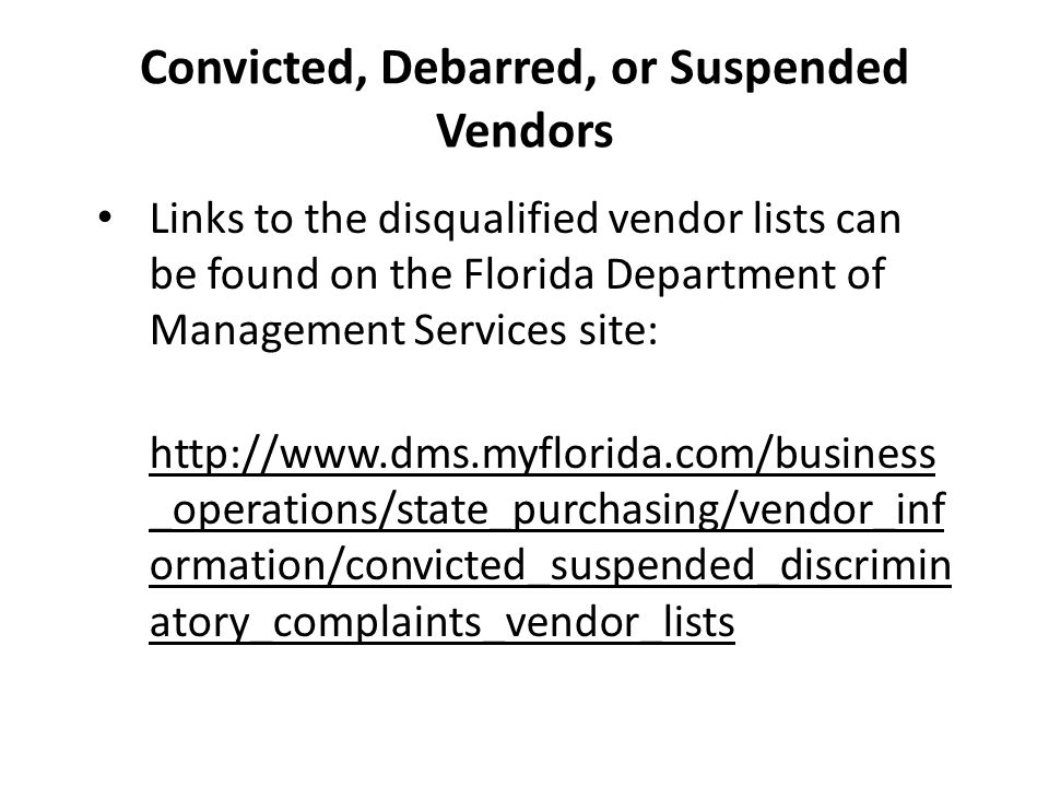 Convicted, Debarred, or Suspended Vendors