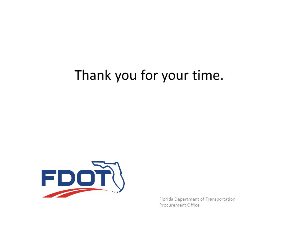 Thank you for your time. Florida Department of Transportation
