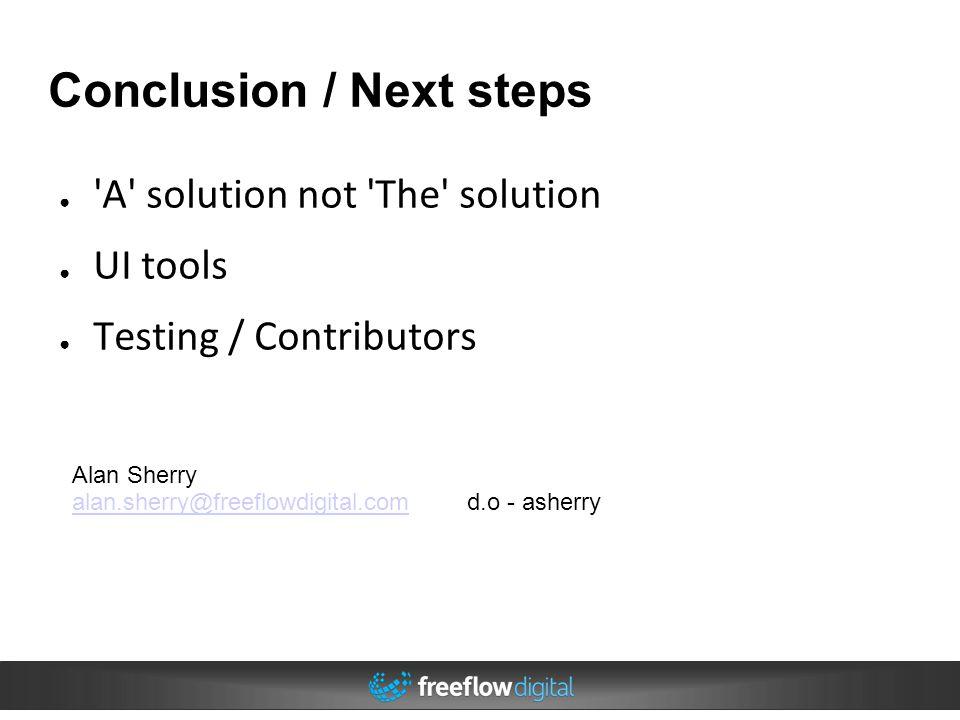 Conclusion / Next steps