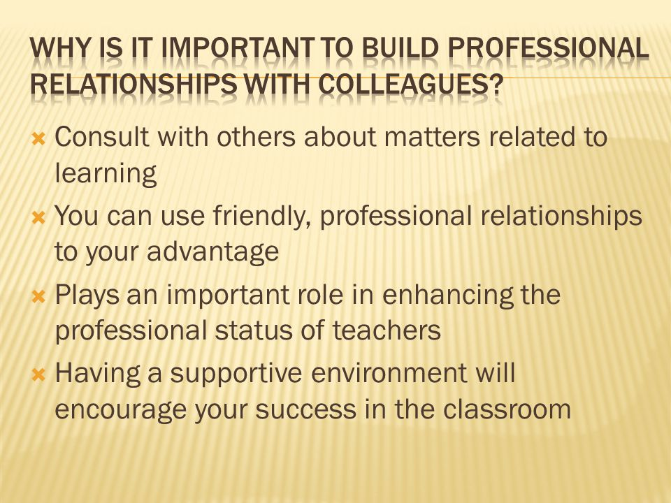 Why is it important to build professional relationships with colleagues