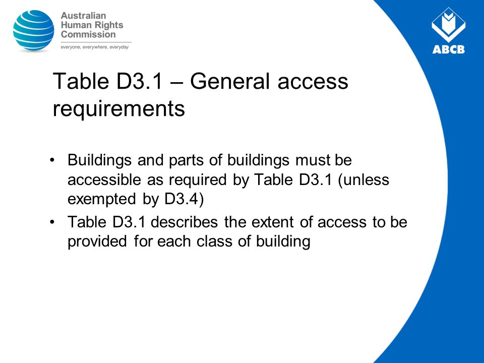 Table D3.1 – General access requirements