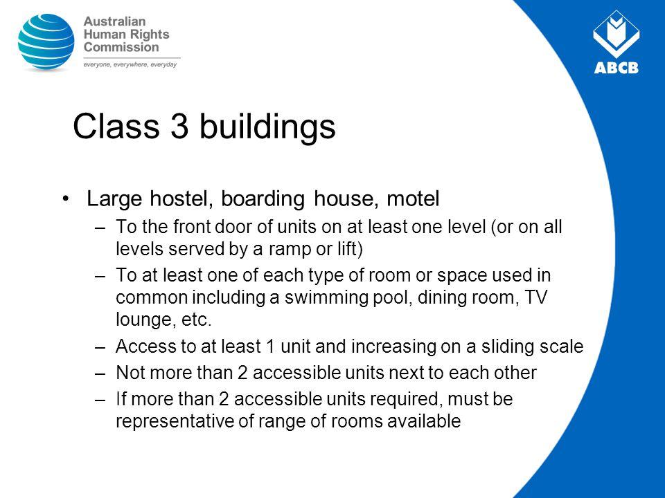 Class 3 buildings Large hostel, boarding house, motel
