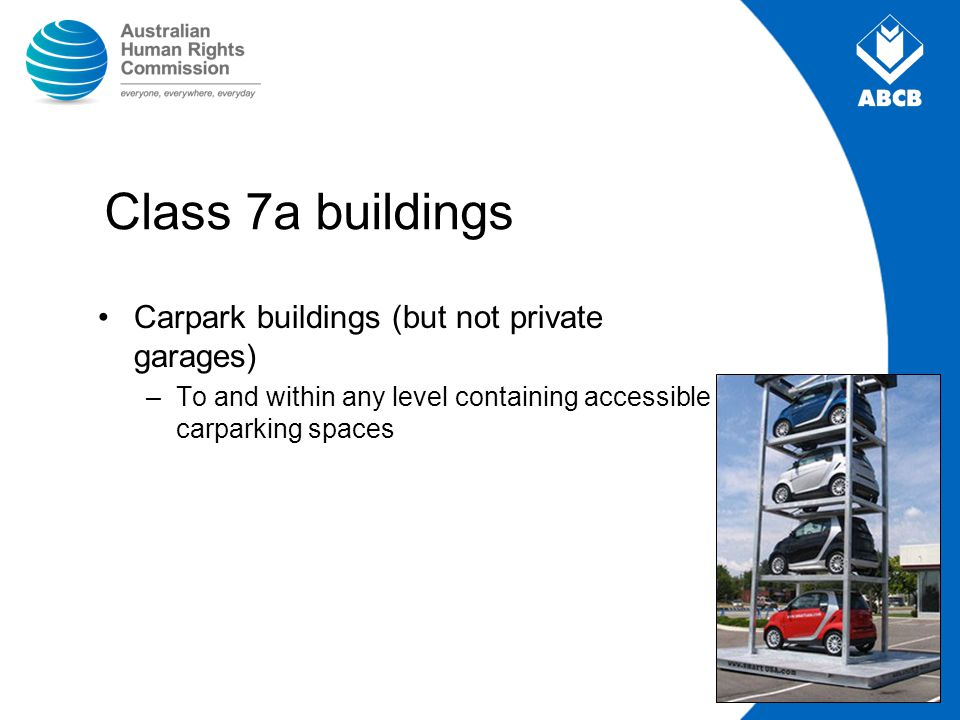 Class 7a buildings Carpark buildings (but not private garages)