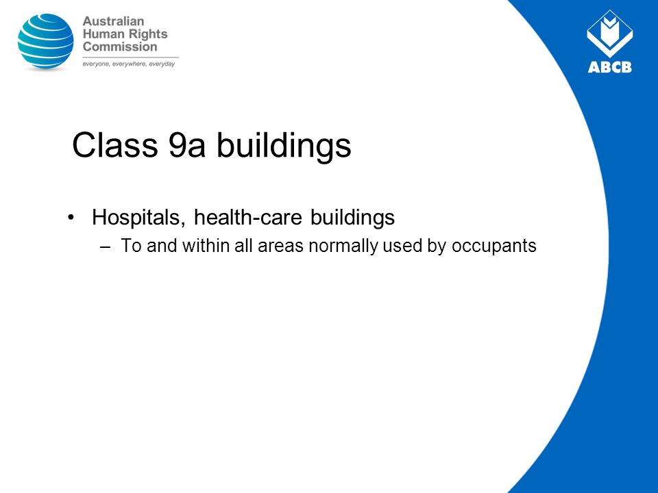 Class 9a buildings Hospitals, health-care buildings