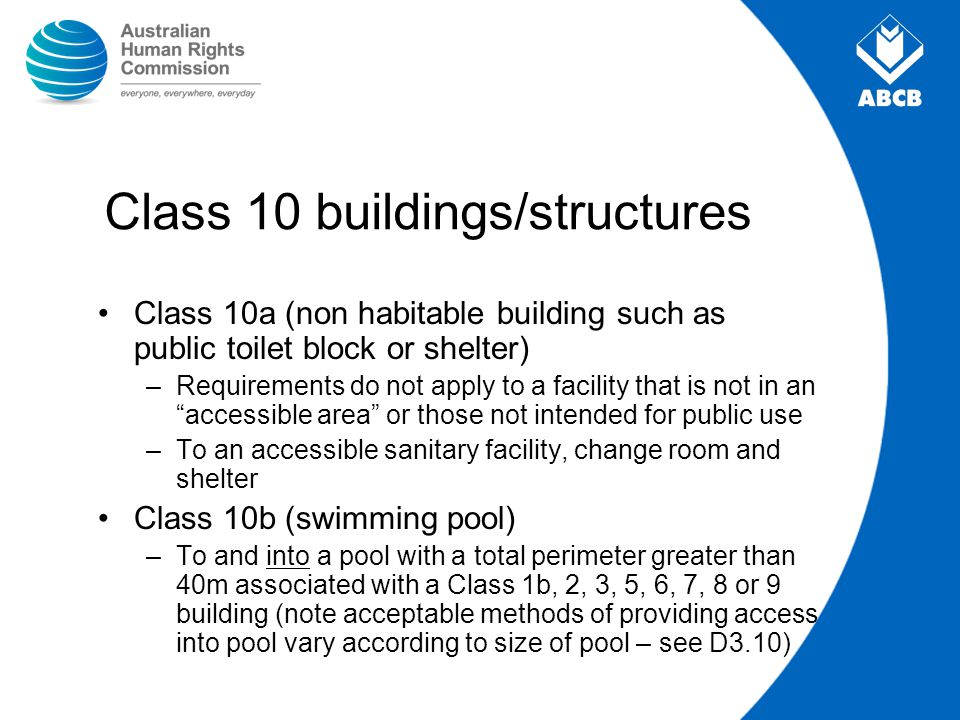 Class 10 buildings/structures