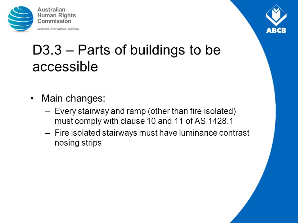 D3.3 – Parts of buildings to be accessible