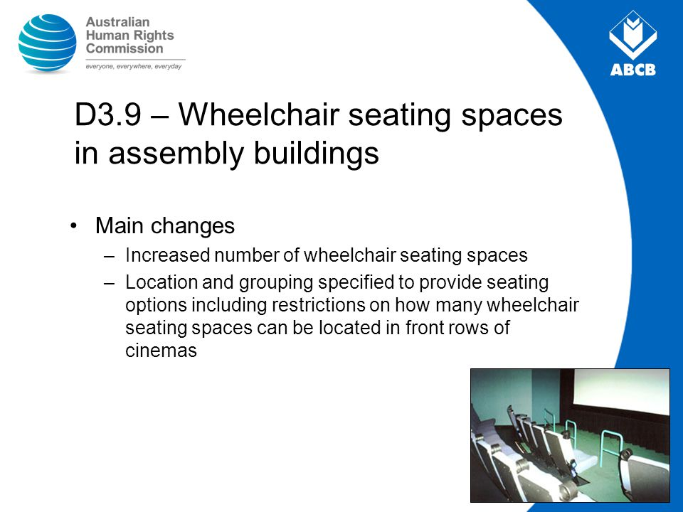 D3.9 – Wheelchair seating spaces in assembly buildings