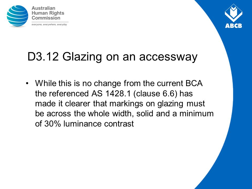 D3.12 Glazing on an accessway