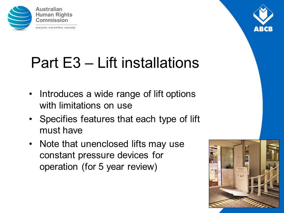 Part E3 – Lift installations