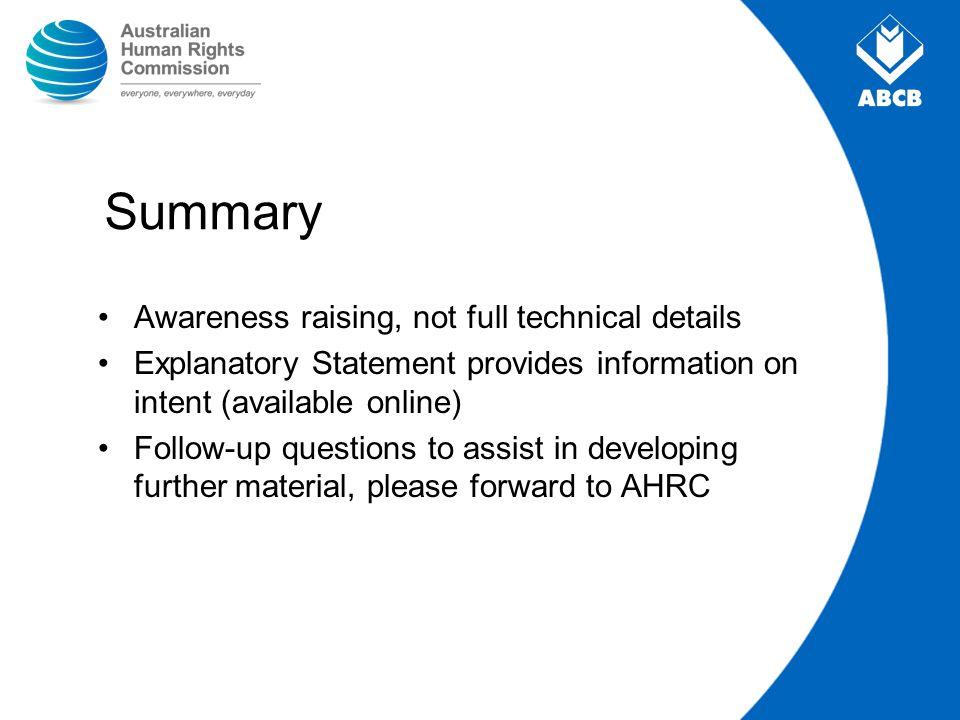 Summary Awareness raising, not full technical details
