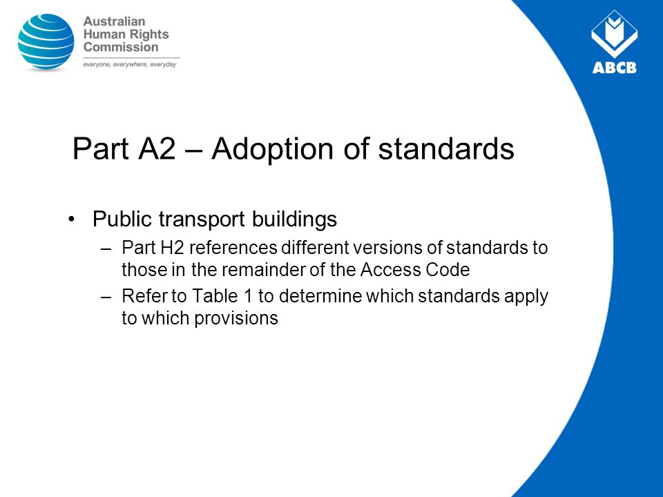 Part A2 – Adoption of standards