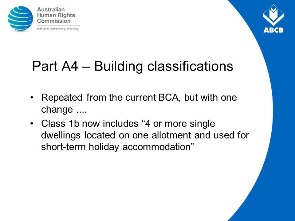 Part A4 – Building classifications