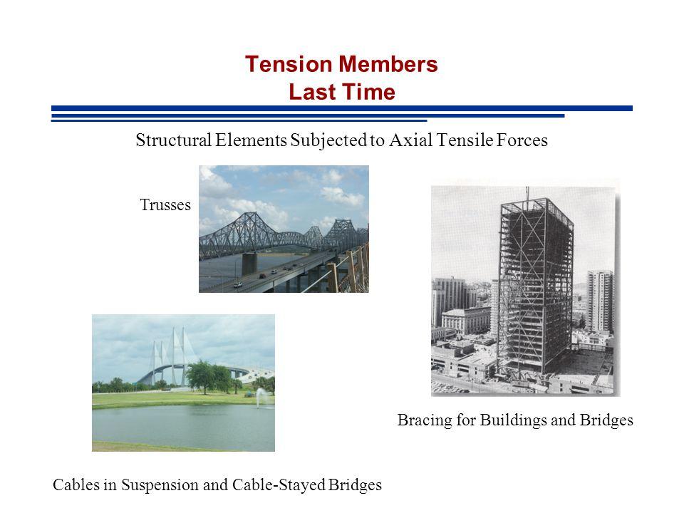 Tension Members Last Time
