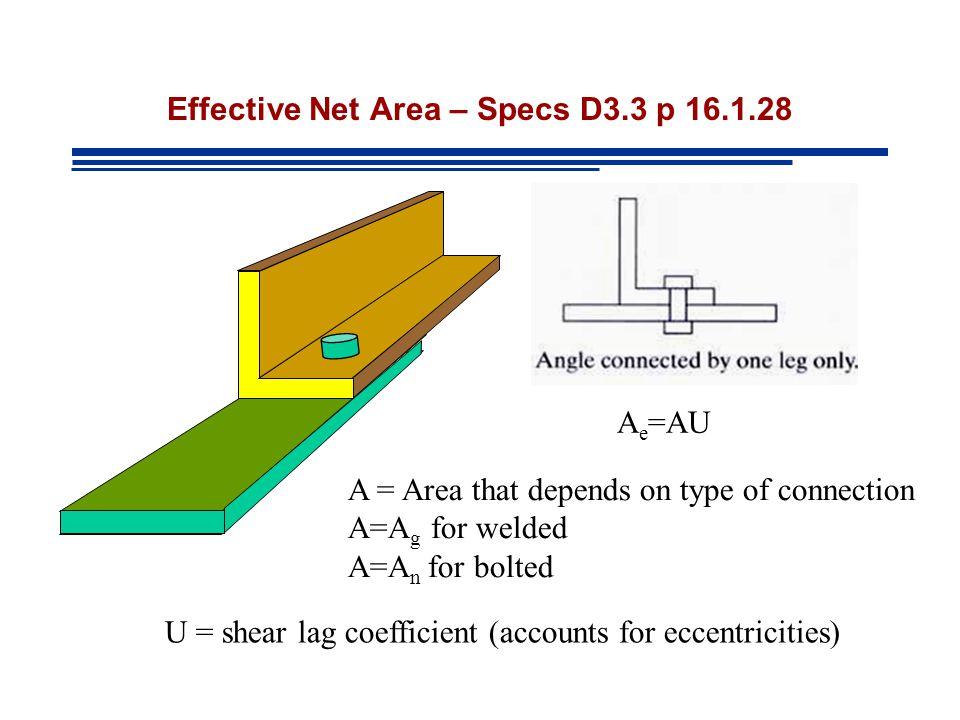 Effective Net Area – Specs D3.3 p 16.1.28