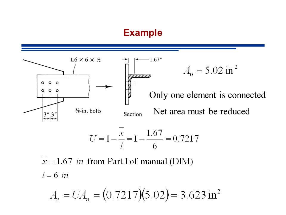 Example Only one element is connected Net area must be reduced