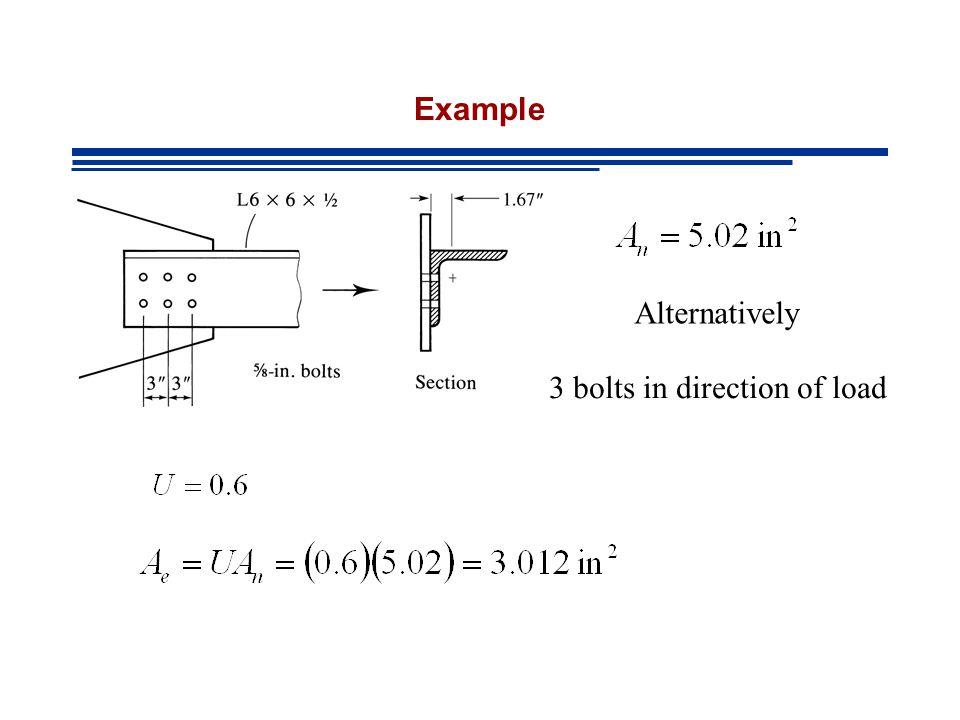 Example Alternatively 3 bolts in direction of load