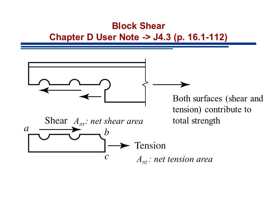 Block Shear Chapter D User Note -> J4.3 (p. 16.1-112)