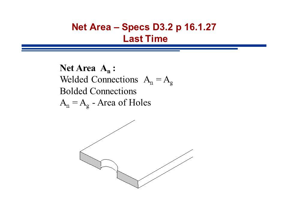 Net Area – Specs D3.2 p 16.1.27 Last Time