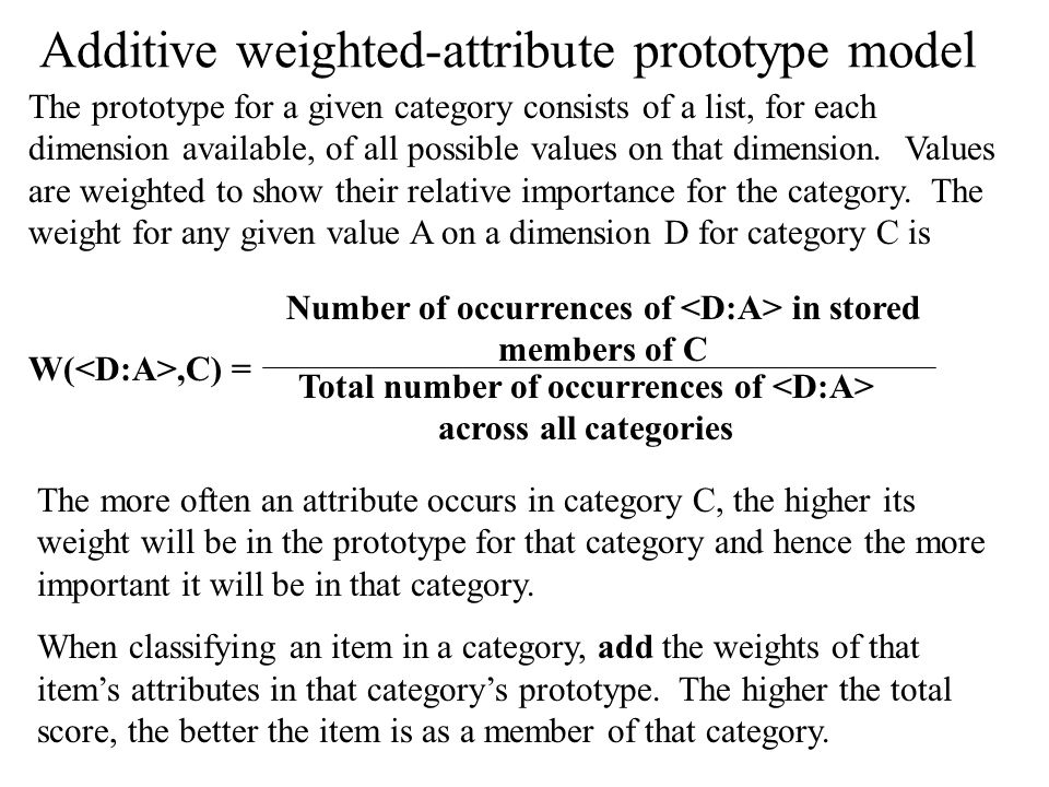 Additive weighted-attribute prototype model