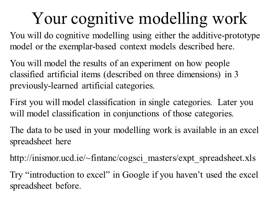 Your cognitive modelling work