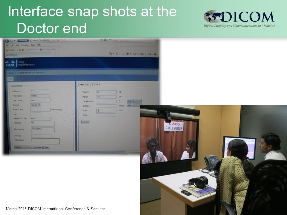 Interface snap shots at the Doctor end