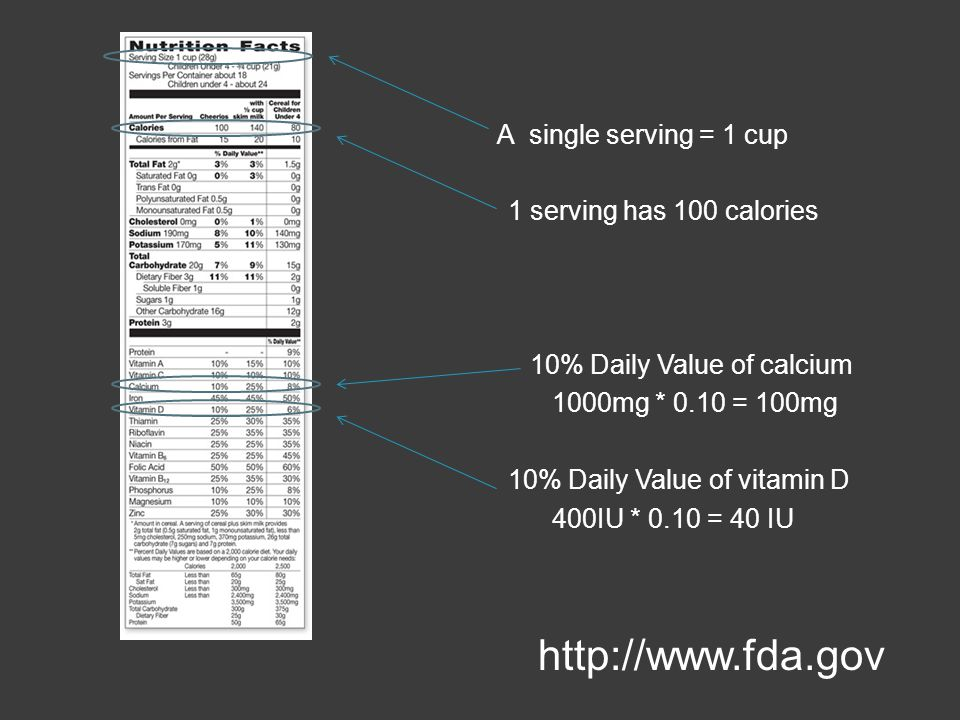 http://www.fda.gov 1 serving has 100 calories