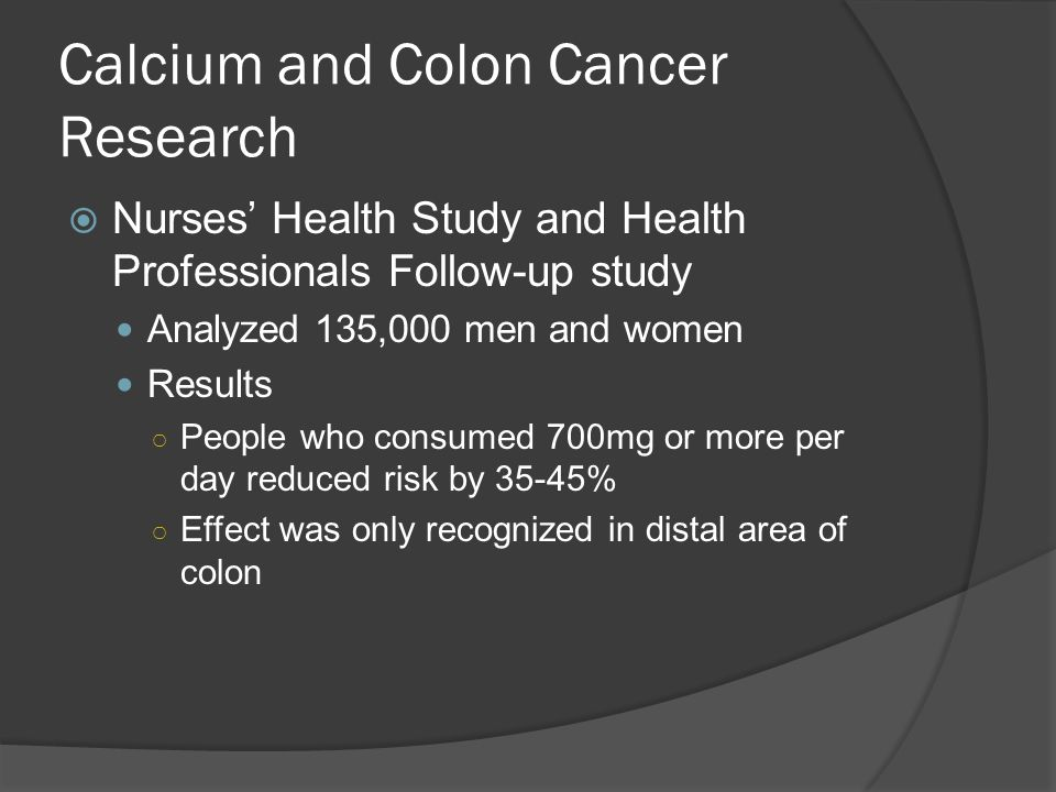 Calcium and Colon Cancer Research