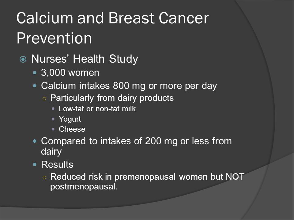 Calcium and Breast Cancer Prevention
