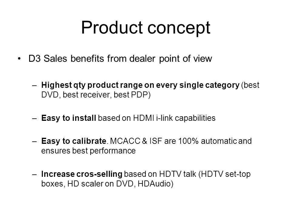 Product concept D3 Sales benefits from dealer point of view