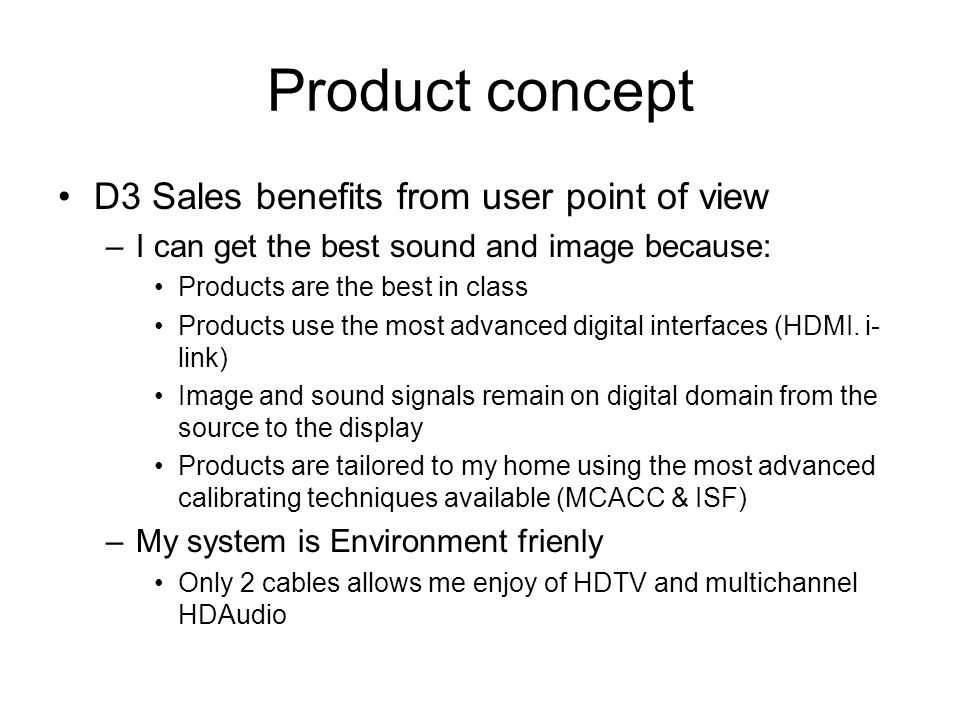Product concept D3 Sales benefits from user point of view