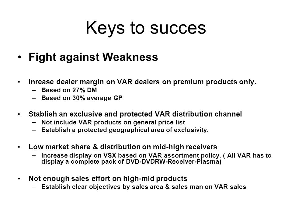 Keys to succes Fight against Weakness