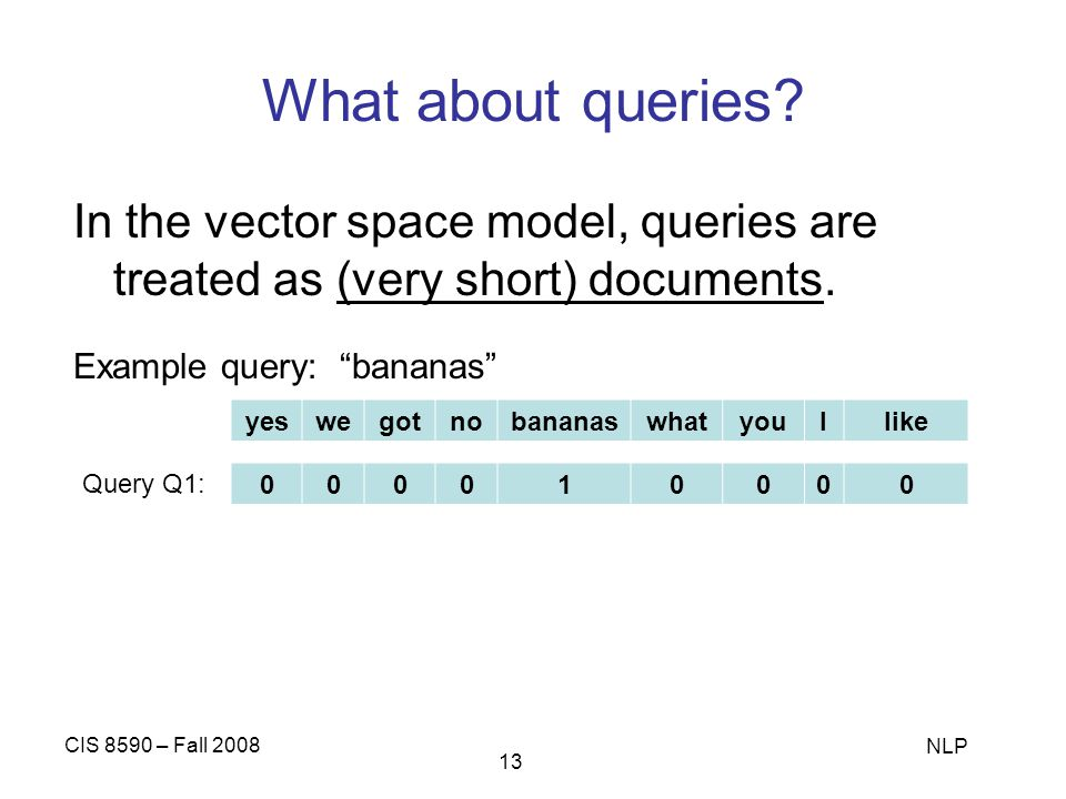 What about queries In the vector space model, queries are treated as (very short) documents. Example query: bananas