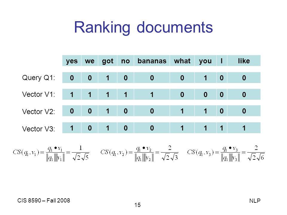 Ranking documents yes we got no bananas what you I like Query Q1: 1