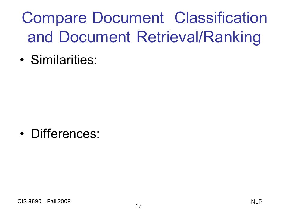 Compare Document Classification and Document Retrieval/Ranking