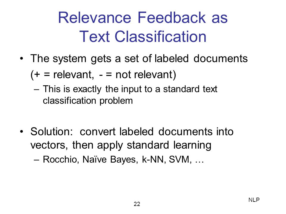 Relevance Feedback as Text Classification