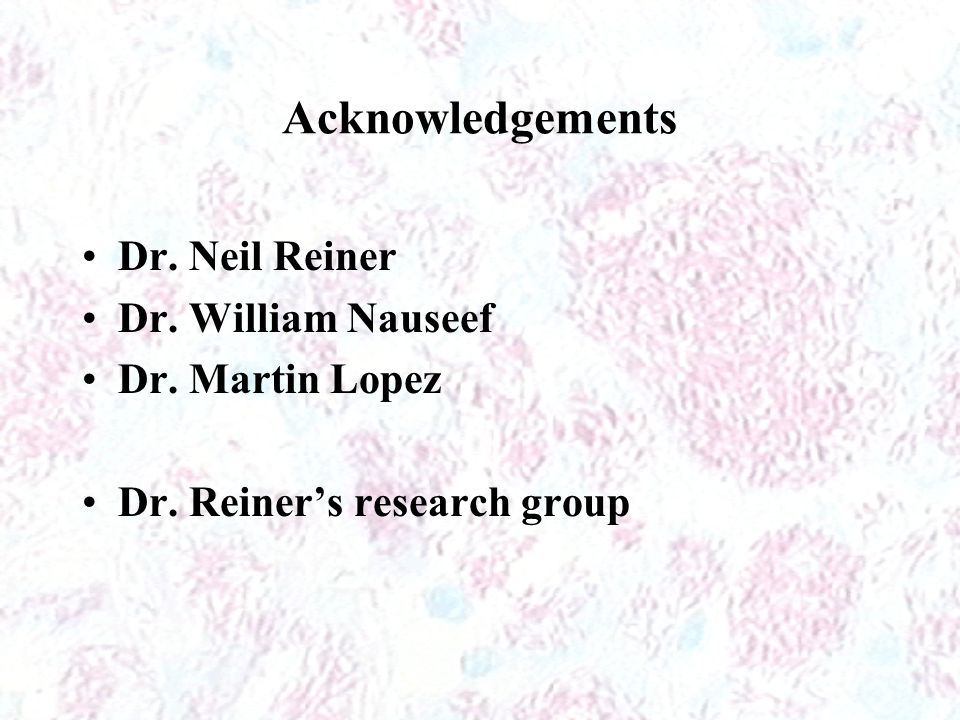 Acknowledgements Dr. Neil Reiner Dr. William Nauseef Dr. Martin Lopez