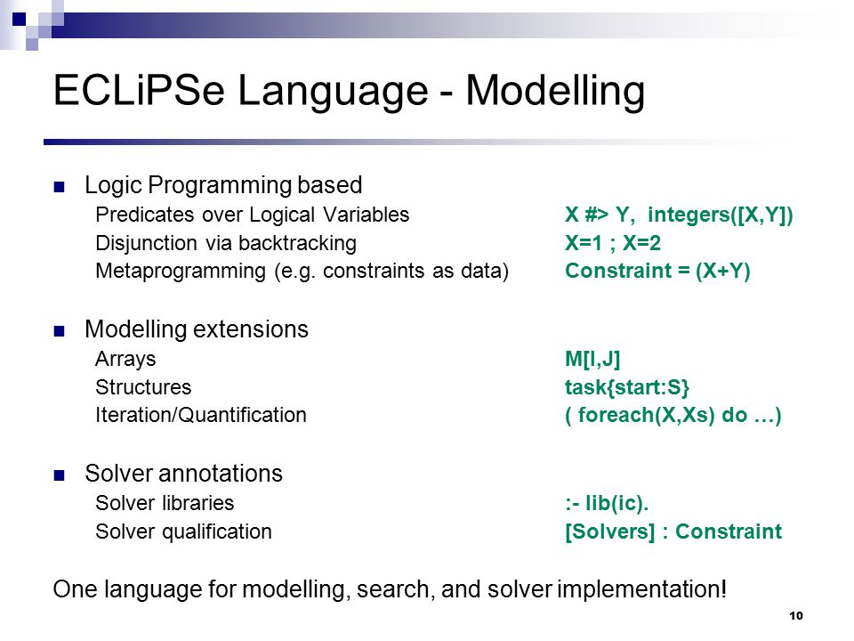 ECLiPSe Language - Modelling