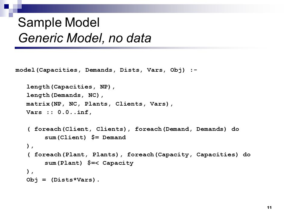 Sample Model Generic Model, no data