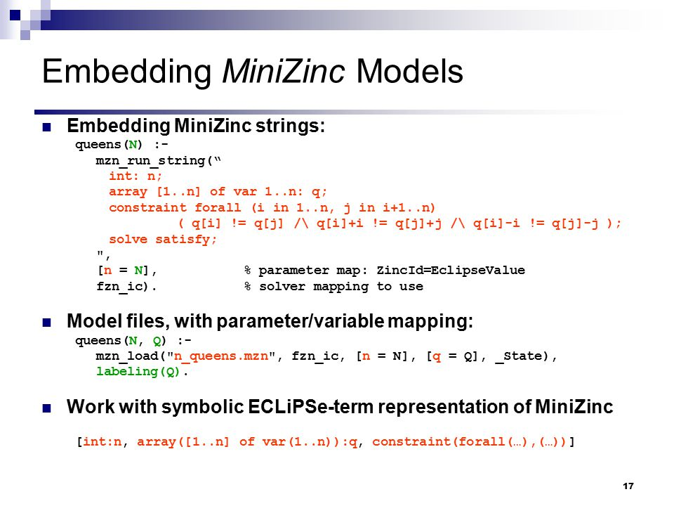 Embedding MiniZinc Models
