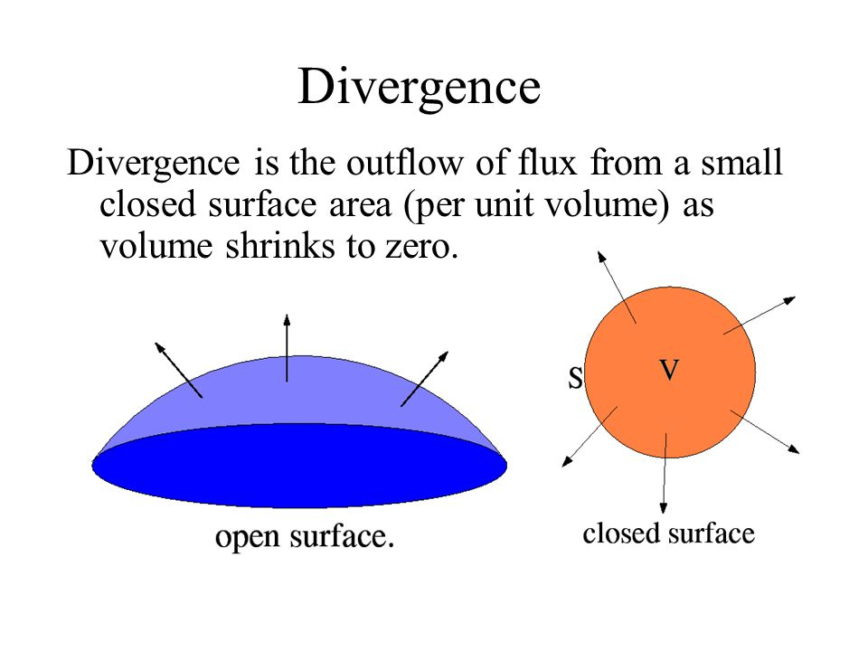 Divergence Divergence is the outflow of flux from a small closed surface area (per unit volume) as volume shrinks to zero.