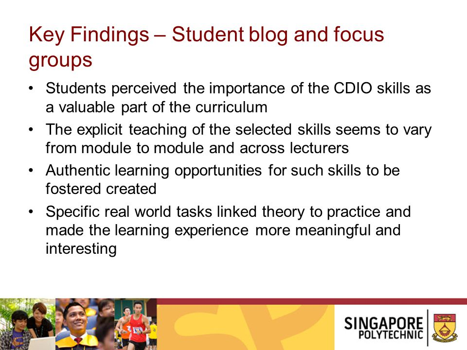 Key Findings – Student blog and focus groups