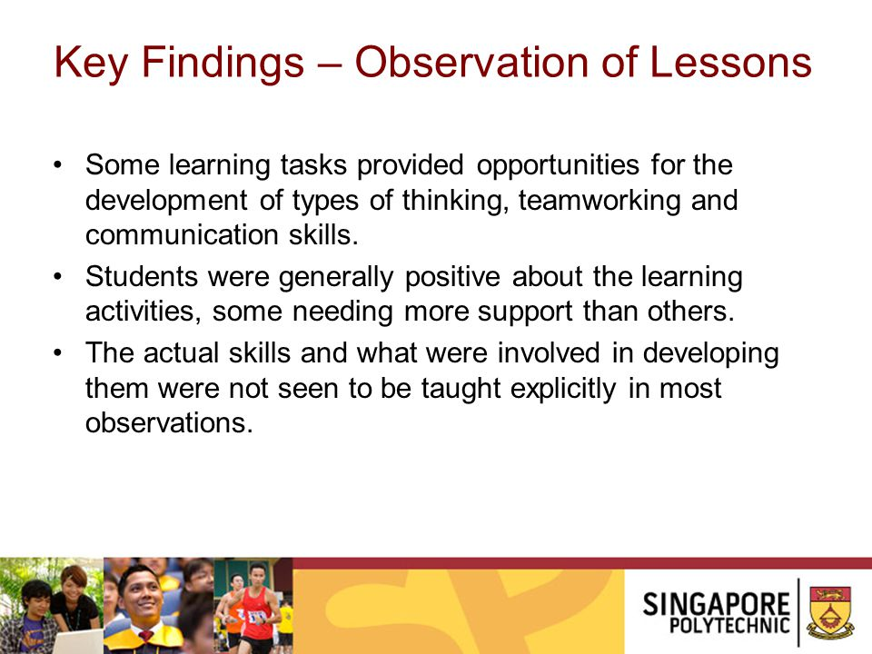 Key Findings – Observation of Lessons