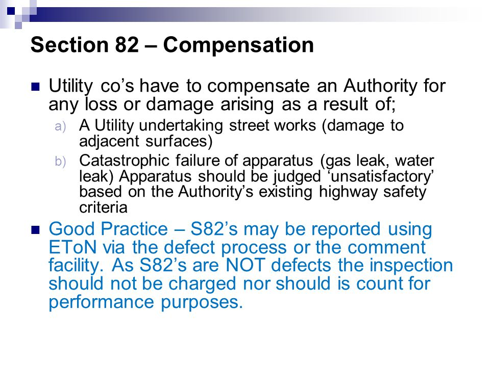 Section 82 – Compensation