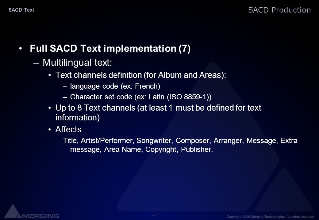 Full SACD Text implementation (7) Multilingual text: