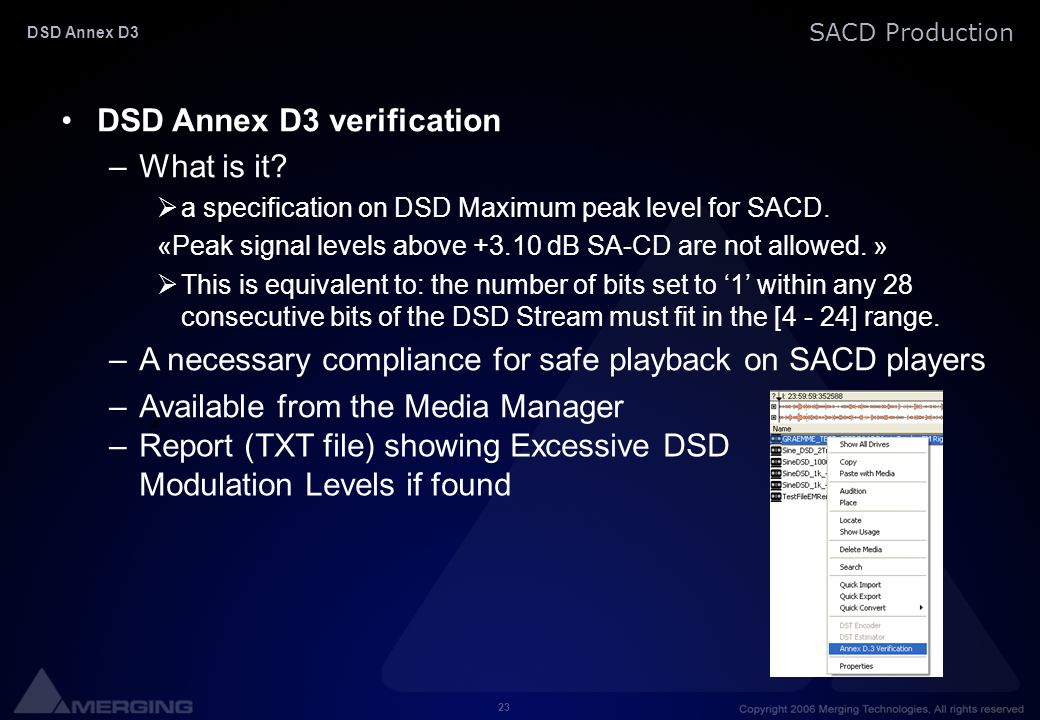 DSD Annex D3 verification What is it