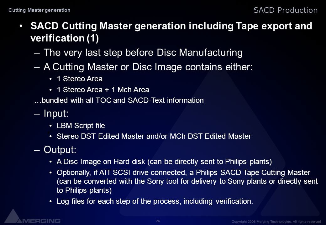 Cutting Master generation
