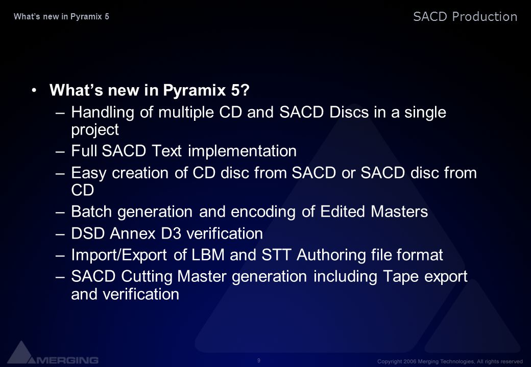Handling of multiple CD and SACD Discs in a single project
