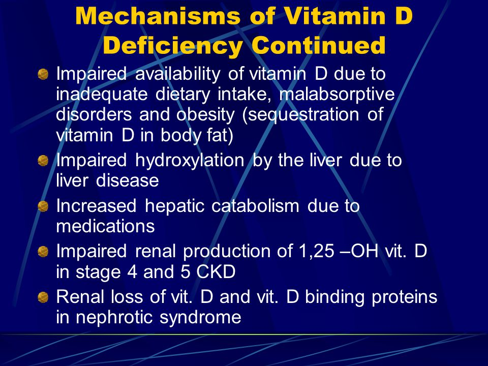 Mechanisms of Vitamin D Deficiency Continued