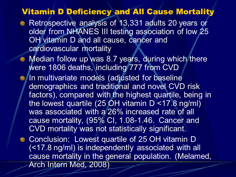 Vitamin D Deficiency and All Cause Mortality